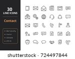 30 contact line icons | Shutterstock .eps vector #724497844