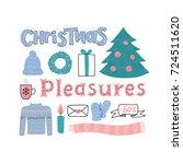 christmas pleasures postcard.... | Shutterstock .eps vector #724511620