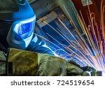 welder  craftsman  erecting... | Shutterstock . vector #724519654