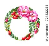 wreath from the branches of a...   Shutterstock . vector #724522258