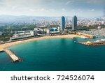 beach in barcelona seaside ... | Shutterstock . vector #724526074