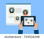 hand holds a tablet. concepts...   Shutterstock . vector #724526248