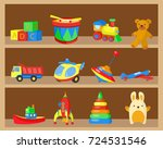 shelves with children toys ... | Shutterstock .eps vector #724531546