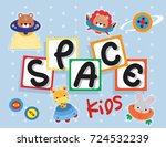 Stock vector greeting card template with cute animal astronauts riding a spaceship vector illustration 724532239