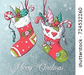 christmas socks with gifts.... | Shutterstock .eps vector #724532260