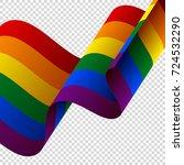 waving lgbt flag on transparent ... | Shutterstock .eps vector #724532290
