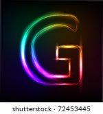 Vector Alphabet.  Neon  Letter G