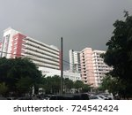 building against black sky in...   Shutterstock . vector #724542424