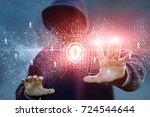 attacker attempts to penetrate... | Shutterstock . vector #724544644