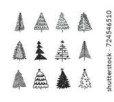 hand drawn set of christmas... | Shutterstock .eps vector #724546510