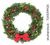 christmas wreath decoration...   Shutterstock . vector #724559920
