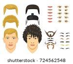 man face emotions constructor... | Shutterstock .eps vector #724562548