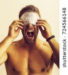 sleep man mask. | Shutterstock . vector #724566148