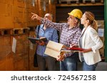 team of customs managers and... | Shutterstock . vector #724567258