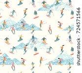 vector illustration of skiers... | Shutterstock .eps vector #724571566