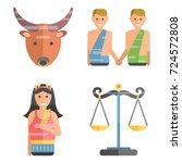 zodiac signs flat set of... | Shutterstock .eps vector #724572808