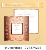 luxury bronze shiny wedding... | Shutterstock .eps vector #724574239