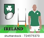 ireland team new official rugby ... | Shutterstock .eps vector #724575373