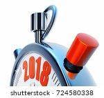 3d rendering of a stopwatch...   Shutterstock . vector #724580338