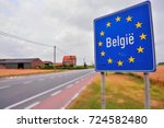 road sign indicating the border ... | Shutterstock . vector #724582480