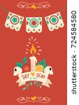 day of the dead sugar skull... | Shutterstock .eps vector #724584580