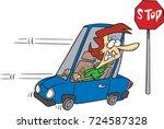 cartoon woman driving in... | Shutterstock .eps vector #724587328
