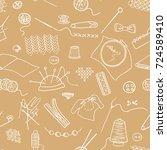 handmade sewing seamless vector ... | Shutterstock .eps vector #724589410