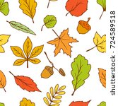 doodle leaves seamless pattern... | Shutterstock .eps vector #724589518