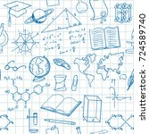 back to school seamless vector... | Shutterstock .eps vector #724589740