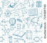 back to school seamless vector... | Shutterstock .eps vector #724589740