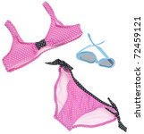 Summer Bikini Concept with Bathing Suit and Sunglasses Isolated on White with a Clipping Path. - stock photo