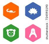 set of 4 animal icons set... | Shutterstock .eps vector #724593190
