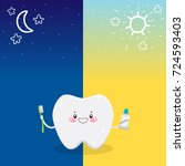 cute tooth and oral dental... | Shutterstock .eps vector #724593403