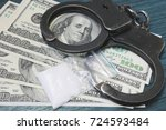 a bag of drugs   us dollars and ... | Shutterstock . vector #724593484