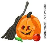 carved pumpkin. happy halloween ... | Shutterstock .eps vector #724598980
