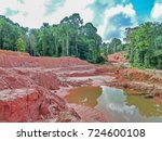 gold mining place in guyana ... | Shutterstock . vector #724600108