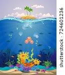 beautiful coral reefs  anemones ...   Shutterstock .eps vector #724601236