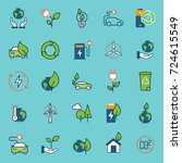 color ecology icons set | Shutterstock .eps vector #724615549