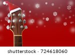 red christmas hat on guitar... | Shutterstock . vector #724618060