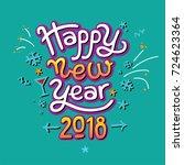 happy new year hand drawn... | Shutterstock .eps vector #724623364