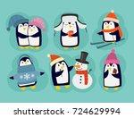 penguin christmas vector... | Shutterstock .eps vector #724629994