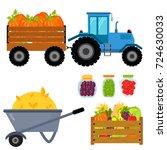 vector harvest flat icons... | Shutterstock .eps vector #724630033