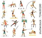 high jump athlete sport woman... | Shutterstock .eps vector #724630180