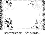 frame with elements of flowers... | Shutterstock . vector #724630360