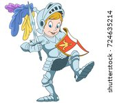 cartoon knight with shield and... | Shutterstock .eps vector #724635214