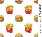 watercolor hand drawn pattern ... | Shutterstock . vector #724638238