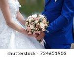 exquisite bouquet of pink roses ... | Shutterstock . vector #724651903