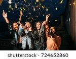 group of female friends under... | Shutterstock . vector #724652860