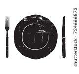 plate  knife and fork. vintage ... | Shutterstock .eps vector #724666873