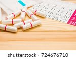 tampons and stripes on the... | Shutterstock . vector #724676710